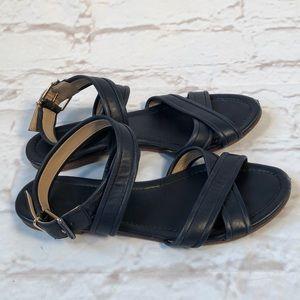 J.Crew Leather navy blue sandals! Size 8.5